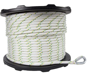 "Spliced Eye Dbl Braided Polyester Rope - 1/2"" x 656ft."
